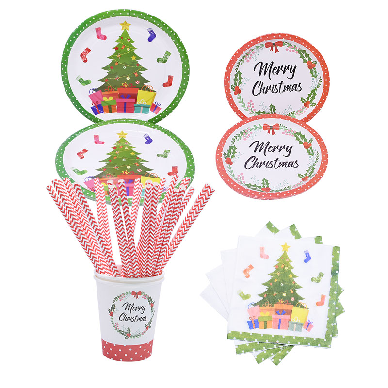 Christmas Decorations for Home Disposable Party Tableware Set Straws Plates Cups Napkins New Year Xmas Festival Party Supplies