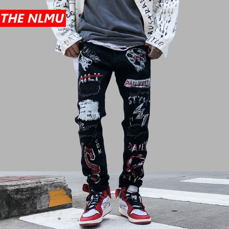 New Skinny Jeans Men Streetwear Destroyed Ripped Jeans Black Homme Hip Hop Broken Graffiti Print Pencil Denim Pants Hole WG560