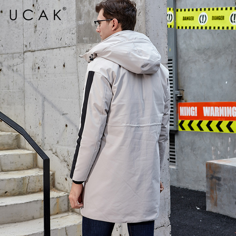 UCAK Brand White Duck Down Jacket Men Winter Thick Warm Long Overcoat Fashion Style Big Pockets Hooded Coat Men Clothes U8016