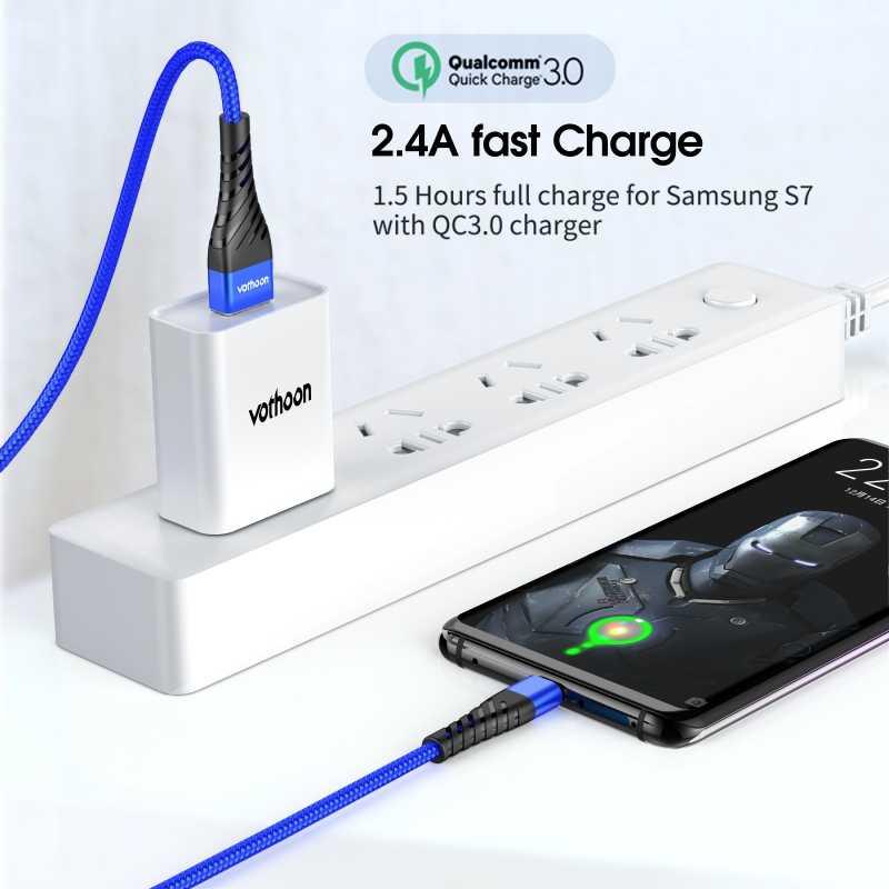 Vothoon Micro Usb Kabel 3A Snel Opladen Micro Data Usb Kabel Voor Samsung Xiaomi Huawei Android Mobiele Telefoon Oplader Kabel koord
