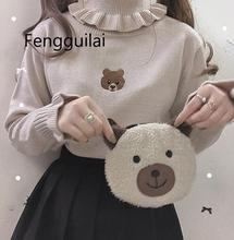 Harajuku Cute Bear Girl Sweater Vintage Knitted High Neck Kawaii Female Pullover Women Turtleneck Ruffle Slim Jumper White Black contrast ruffle neck and bell cuff jumper