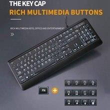 Deluxe arkadan aydınlatmalı klavye, büyük baskı kablolu USB klavye yüksek kontrastlı tuşları ve beyaz ışıklı LED takım elbise