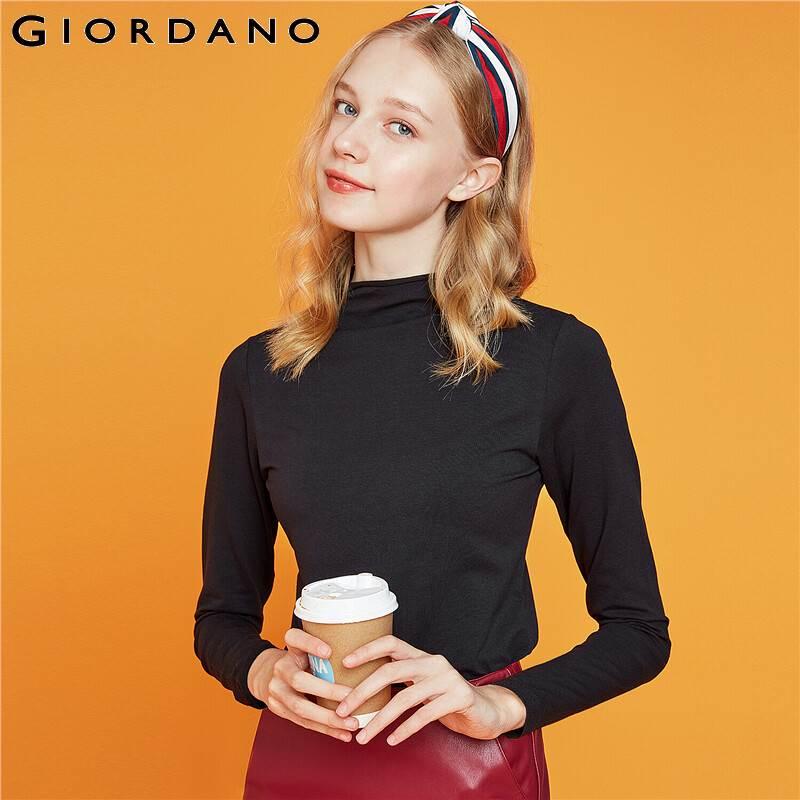 Giordano tshirt feminino manga longa mockneck sólido camiseta femme elástico algodão misturado camisetas mujer 13329804