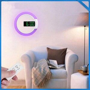 Image 2 - 3D светодиодный настенные часы цифровые настольные часы будильник Зеркало полые настенные часы современный дизайн ночник для дома гостиной украшения