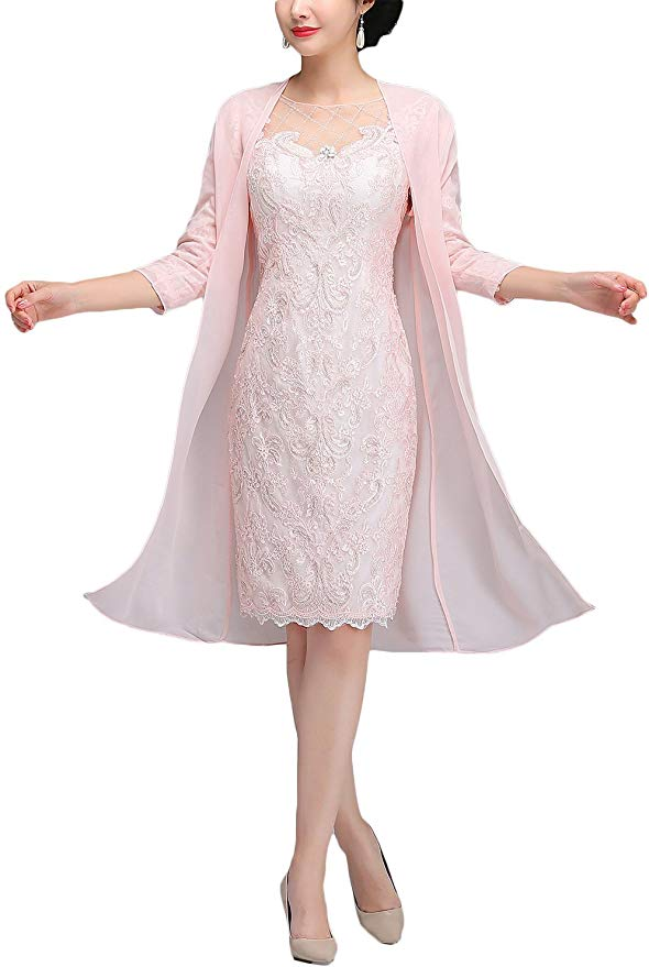 OKOUFEN Short Mother Of The Bride Dresses For Wedding 2019 Jacket Sheath Knee Length Dusty Mother's Kurti Vestido De Madrinha