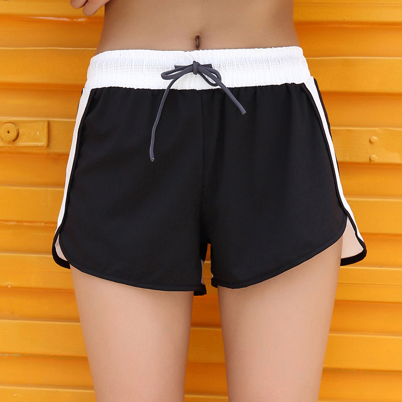 European And American New Running Body-building Sport Shorts Fake Two-piece Color-flattering Lady Sports Shorts Women