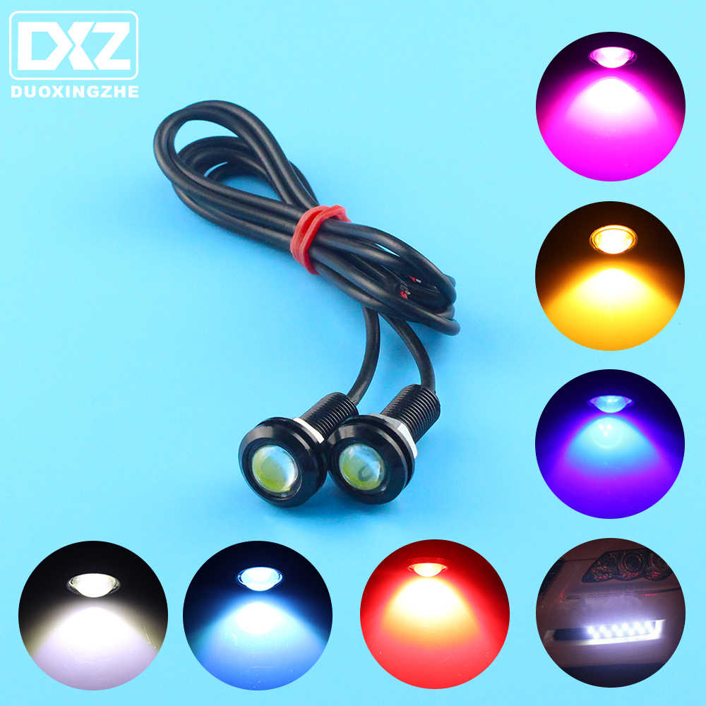DXZ 2Pcs LED Eagle Eye Light DRL Daytime Running Strobe Fog Lights 9W 12V 24V 18MM 23MM Reversing Parking Signal Lamp Waterproof