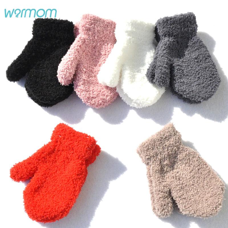 Warmom Plush Thick Warm Baby Gloves Winter Plus Velvet Mittens Children Kid Coral Fleece Full Finger Gloves For 1 4Y Kids Gloves