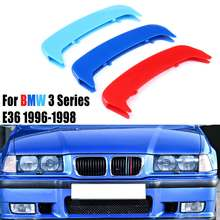 11 Bar Auto Front Hood Grille Nieren Auto Styling Mode Grille Covers 11 Pole 3D Aufkleber Für BMW 3 Serie e36 1996-1998(China)
