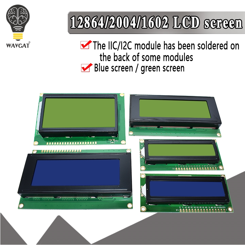 LCD1602 LCD 1602 2004 12864 Module Blue Green Screen 16x2 20X4 Character LCD Display Module HD44780 Controller Blue Black Light