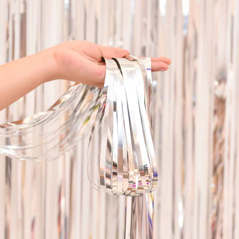 Image 5 - Party Favors Wedding Decoration Party Supplies Photozone Rain Tinsel Foil Curtain Birthday Party Wall Drapes Photo Zone BackdropParty Backdrops   -