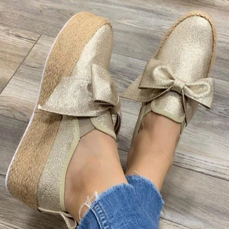 2020 Women Flats Shoes Platform Sneakers Leather Suede Ladies Loafers Slip On Bows Flats Moccasins Casual Shoes