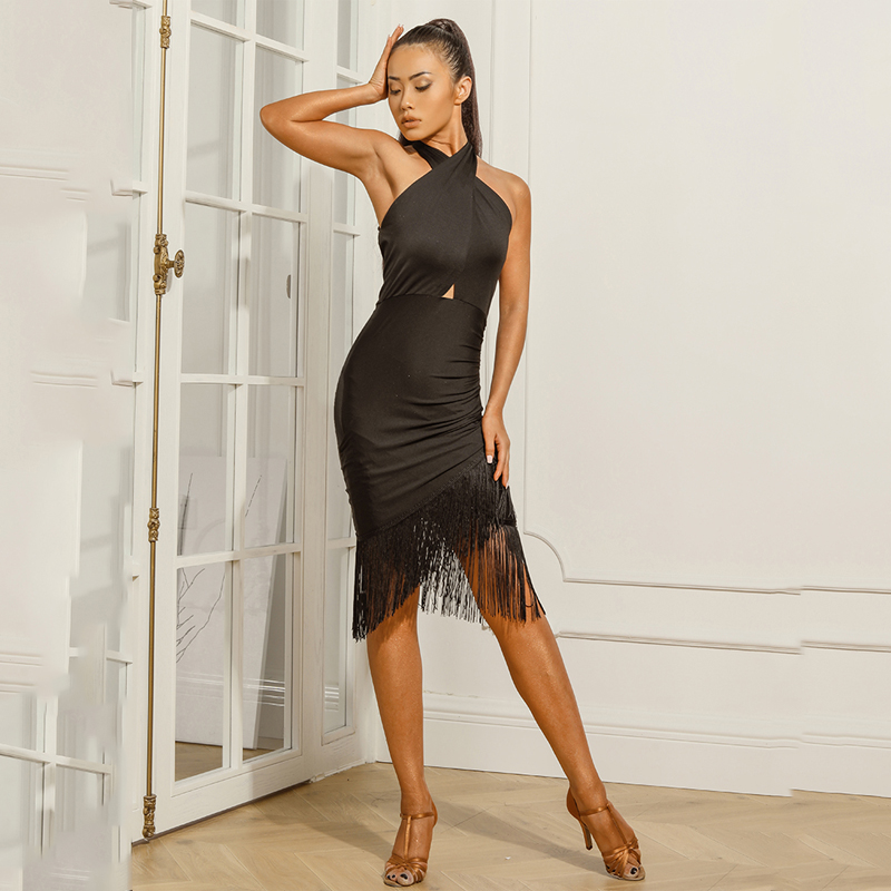 New Latin Dance Dress Black Tassel Dresses Fringe Skirt Women Rumba Salsa Samba Cha Cha Dancing Clothes Performance Wear DQS2734