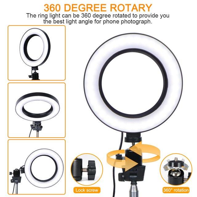 Video Light Three Modes Light LED Selfie Ring Light Dimmable LED Ring Lamp Photo Video Camera Phone Light Ring Light Fill Light