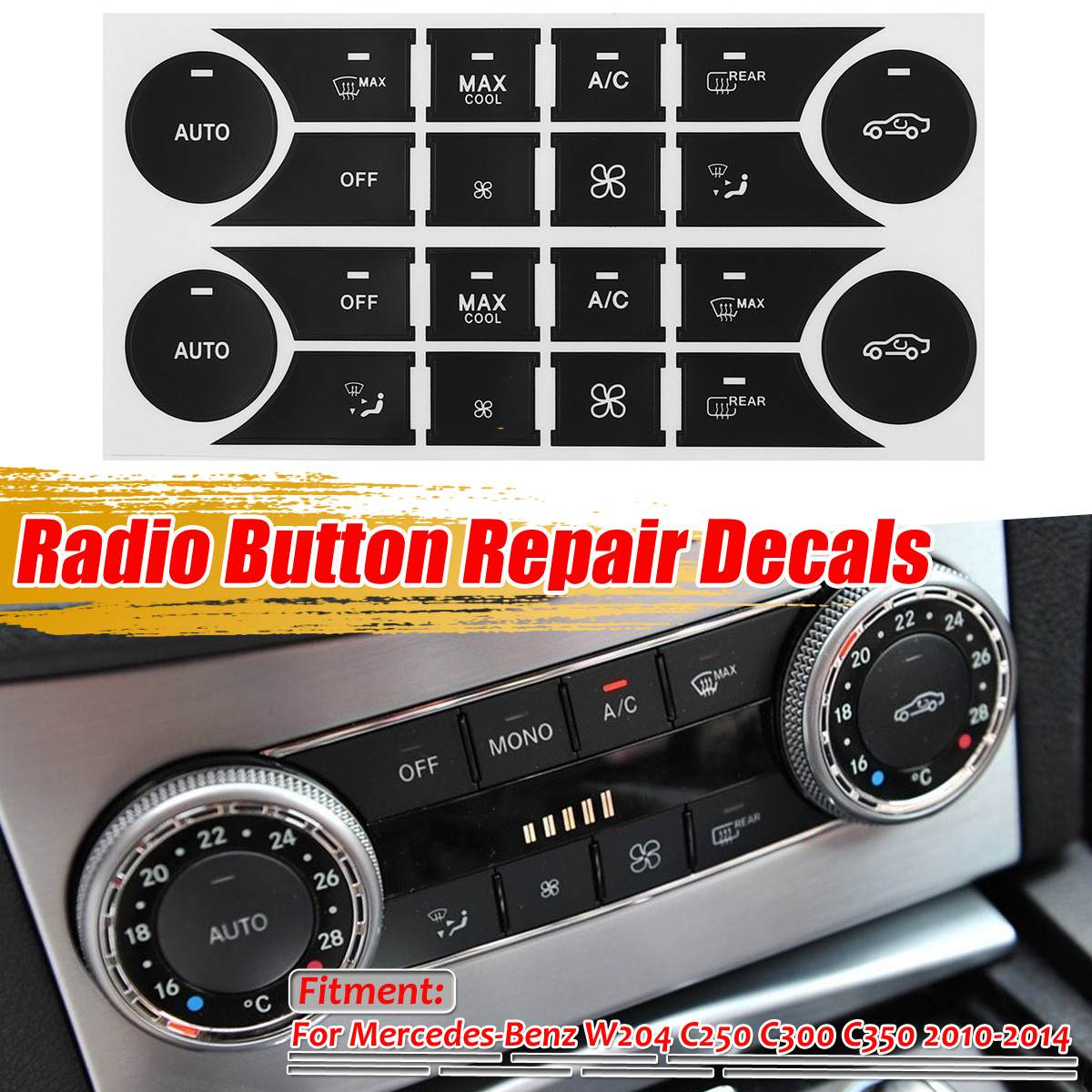 Car A/C Radio Button Repair Sticker Decals For <font><b>Mercedes</b></font> For Benz W204 C250 <font><b>C300</b></font> C350 2010 2011 <font><b>2012</b></font> 2013 2014 Fix Ugly Button image