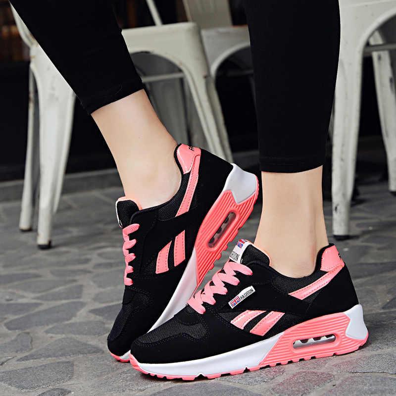 Kadınlar nefes örgü ayakkabı hafif açık koşu Lace Up bayanlar ayakkabı kadın Sneakers Tenis Feminino rahat daireler