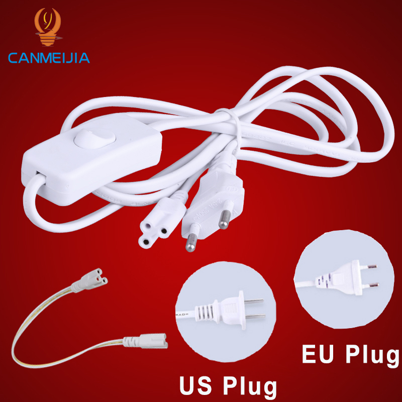 US EU Switch Cable T5 T8 LED Tube Lamp Connector 3 Pins  30CM 50CM 180CM Three-phase Double-end Connecting