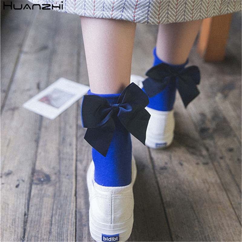 HUANZHI 2020 Solid Color Exaggerated Big Bow Winter Minimalist Lovely Sweet Cotton Socks For Women Girls Gifts