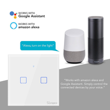 SONOFF T0 WiFi Smart Switch With 2 Gangs,Works Amazon Alexa And Google Assistant,Compatible IFTTT Function