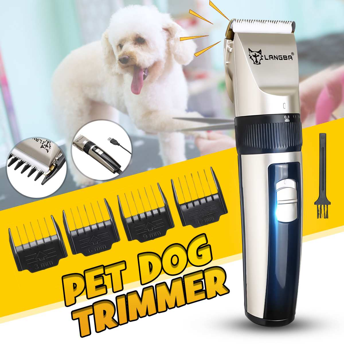 Rechargeable Cat Dog Grooming Trimmer Clipper Set Low-noise Dog Hair Trimmer Electrical Pet Hair Clipper Pets Haircut Machine