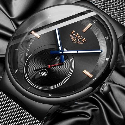 LIGE Mens Watches 2019 New Fashion Casual Black Quartz Watch Men Unique Dial Sport Waterproof Male Clock Relogio Masculino+Box Pakistan