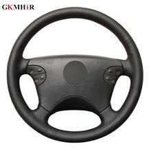 יד תפור שחור אמיתי עור רכב הגה כיסוי עבור מרצדס בנץ W210 E class E320 2000 2001 2002