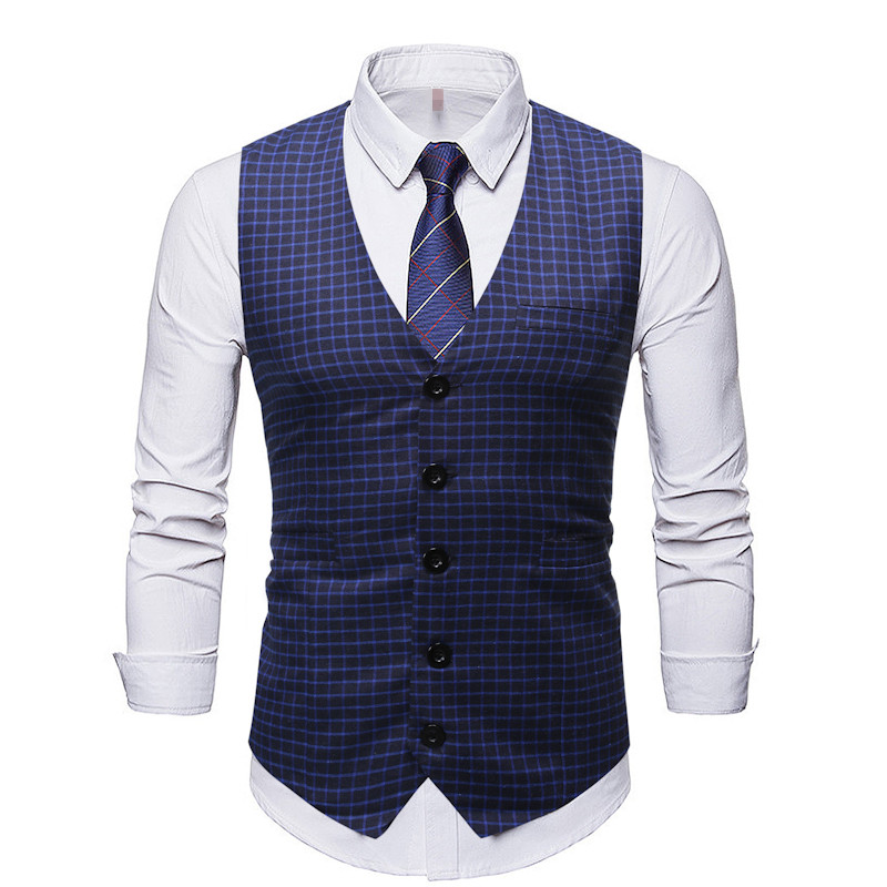 Casual Waistcoat Men Plaid Vests Business Outwear Single Buttons Slim Fit Dress Suit Vests For Men Plus Size Male Clothing M-3XL