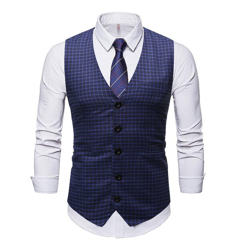 Casual Waistcoat Men Plaid Vests Business Outwear Single Buttons Slim Fit Dress Suit Vests For Men Plus Size Male Clothing M-3XL