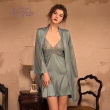 Ensemble pyjama 3 pièces pour femmes, peignoir Sexy en soie, vêtements de nuit avec ceinture, nouvelle collection