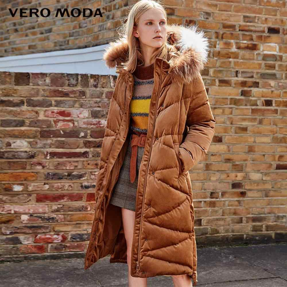 Vero Moda vrouwen Kleur Contrast Wasbeer Bont Capuchon Lange Dikke Donsjack   318312508