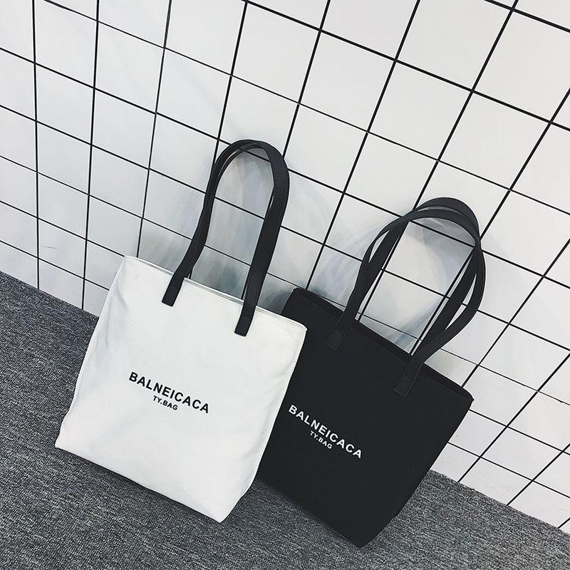2018 New Style Korean-style Simple Large-Volume Lettered Canvas Large Bag Versitile Fashion Shoulder Bag Shoulder Casual Women's