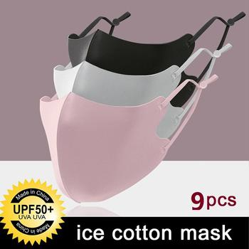 9 sztuk lodowy jedwab maski zmywalny recykling przeciwkurzowe filtr zanieczyszczeń maska ochronna na twarz dla dorosłych kolarstwo piesze wycieczki Camping na zewnątrz tanie i dobre opinie CN (pochodzenie) COTTON