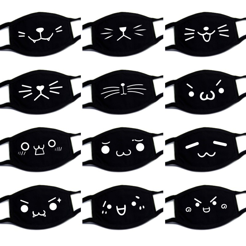 Black Dust Cartoon Kawaii Anime Mask Quality Cotton Fashion Healthy Mouth Face Masks For Men And Women Apparel Accessories