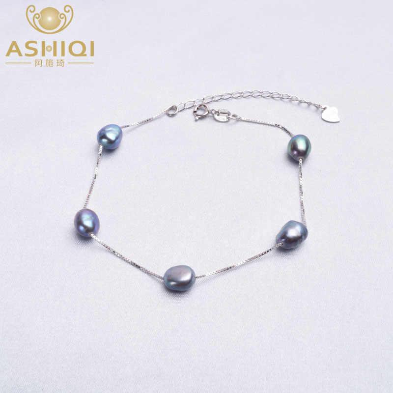 Ashiqi本物の925スターリングシルバー天然バロック真珠のブレスレットファッション6-7ミリメートル淡水真珠の宝石