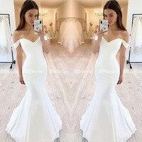 Off Shoulder V Neck Mermaid Wedding Dresses White Robe Mariage Satin Long Bride Dress Zipper Up Back Floor Length Wedding Gowns