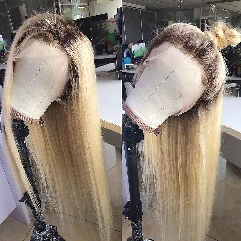 Luvin 613 blonde Lace Front Wig Straight Brazilian Remy Human Hair Ombre T1B/613 Lace Frontal Wigs For Women Long Full Wig-in Human Hair Lace Wigs from Hair Extensions & Wigs    3