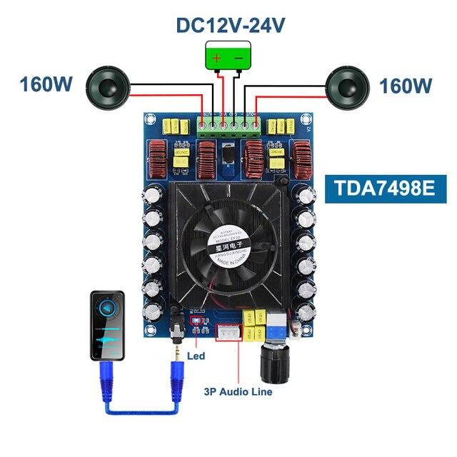 TDA7498E 160 ワット * 2 オーディオデジタルパワーアンプボードクラス d デュアルチャンネルステレオ TDA7498 サブウーファーステレオホームシアターアンプ