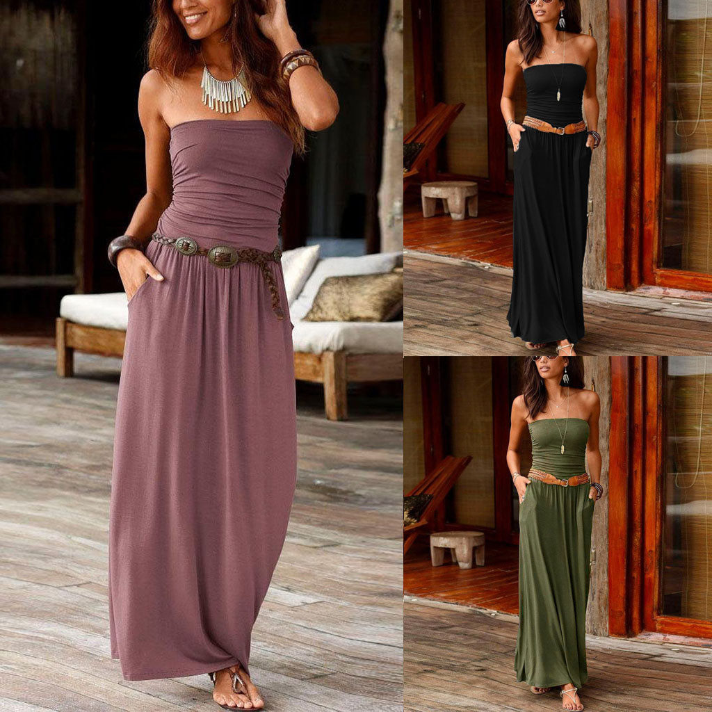 Womens Bandeau Holiday Off Shoulder Long Dress Ladies Summer Solid Maxi Dress Solid Dress Summer New Fashion Dress Party Dress