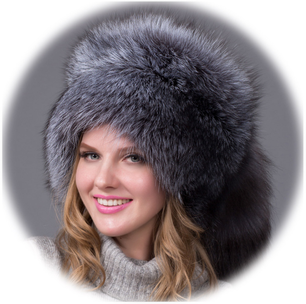 Bomber Leather Russian Hat Women Luxury Winter Hats With Tails Trapper Cap Fluffy Raccoon Fur Grey Real Fox Fur Hats Extra Warm