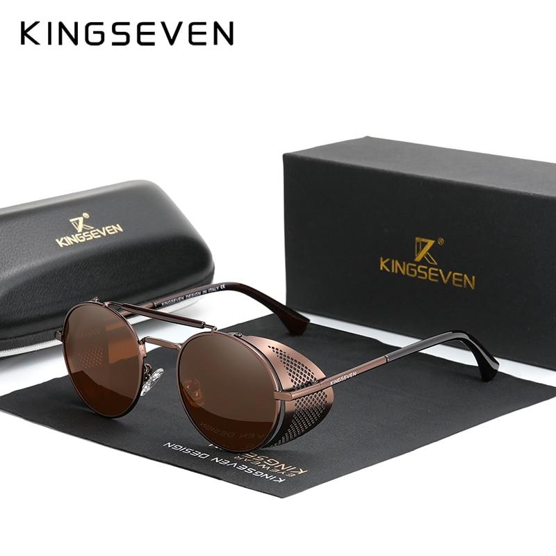 Genuine KINGSEVEN Retro Round Steampunk Sunglasses Men Retro Women Sun Glasses Shades Vintage Travel Eyewear Gafas De Sol 7550 12