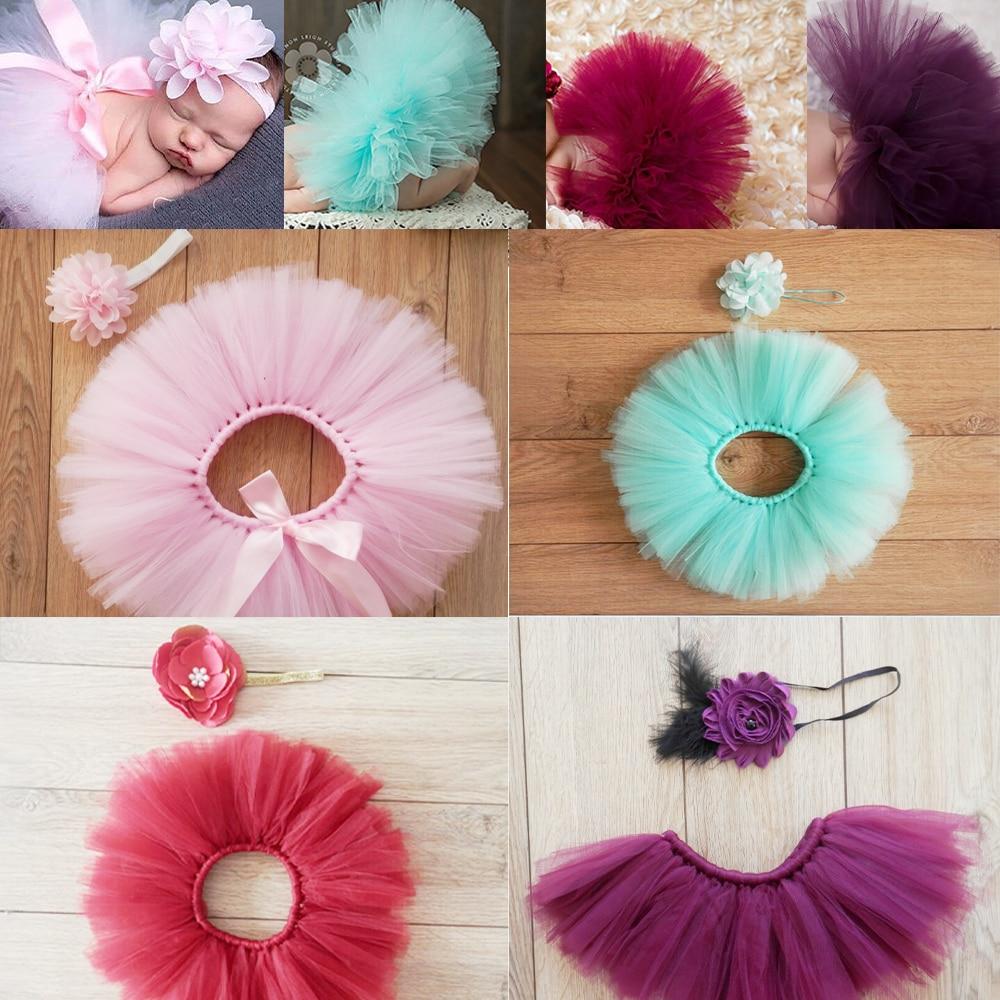 Костюм для фотосъемки новорожденных с пышной юбкой, Тюлевая повязка на голову с цветами для маленьких девочек, реквизит для фотосъемки дете...