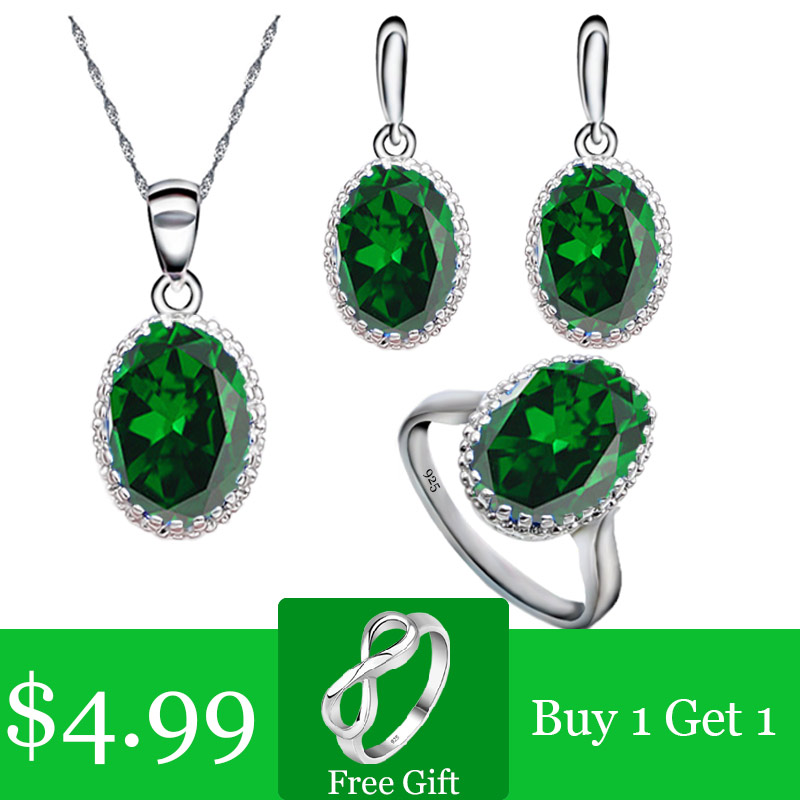 Green Emerald Silver 925 Jewelry Set for Women Free Gift Ring Necklace Pendant Wedding Jewelry(China)