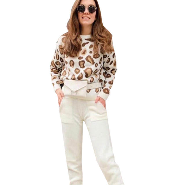 MVGIRLRU Autumn and Winter Women Suits Leopard  Knitted O Collor Pullover Sweater and Pants Two Piece Set