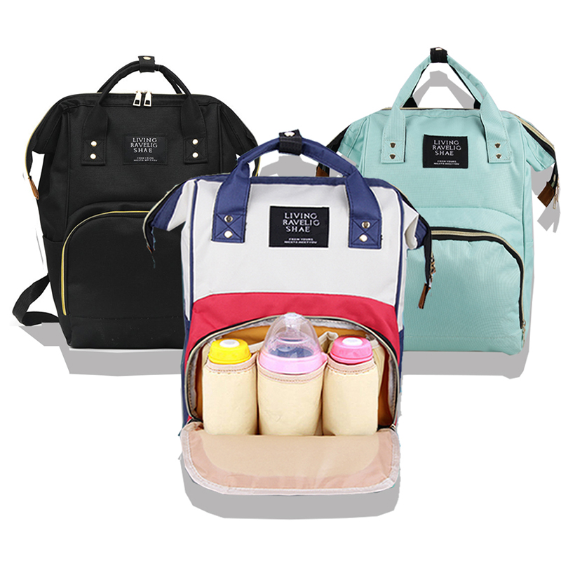 Mom's Backpack Baby-Care-Bag Nursing-Bag Zippers Large-Capacity Outdoor Mummy title=