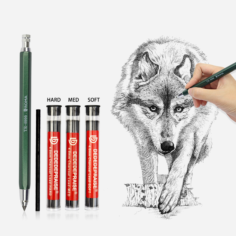 4mm Mechanical Pencil Sketch Drawing Art Pencil Automatic Charcoal Pencils For Students Kids Gift Stationery Supplies TR-4000