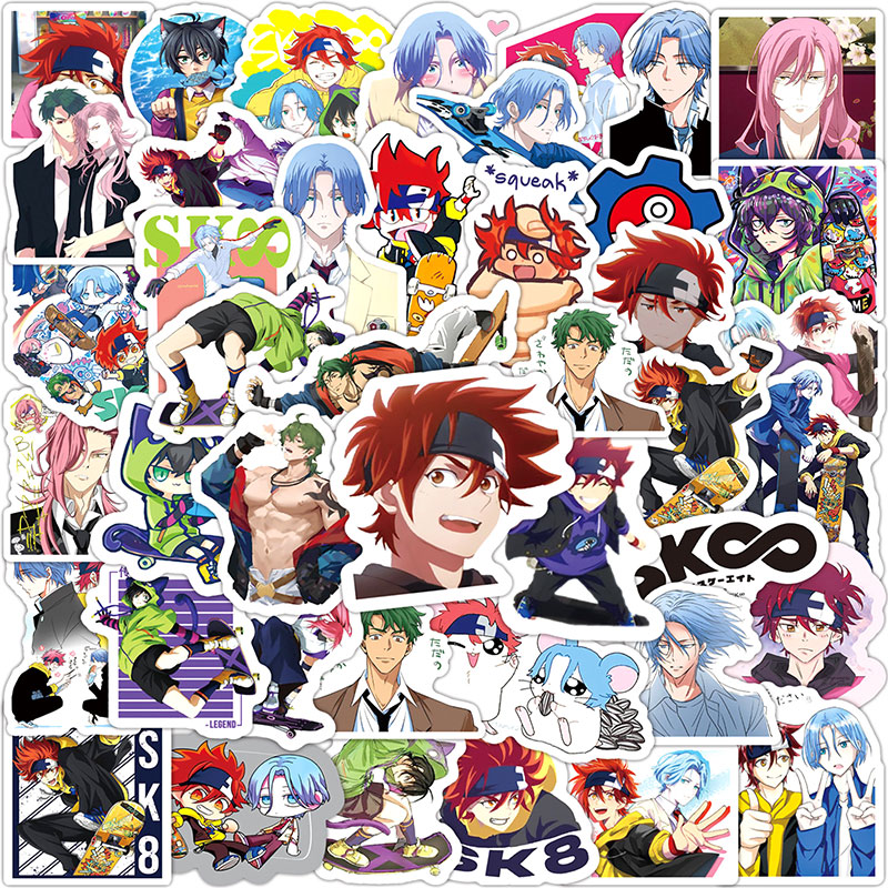 10/30/50pcs/pack Japanese anime SK8 Label Stickers For Furniture Wall Desk DIY Chair Toy Car Trunk Computer Decal Motorcycle Etc