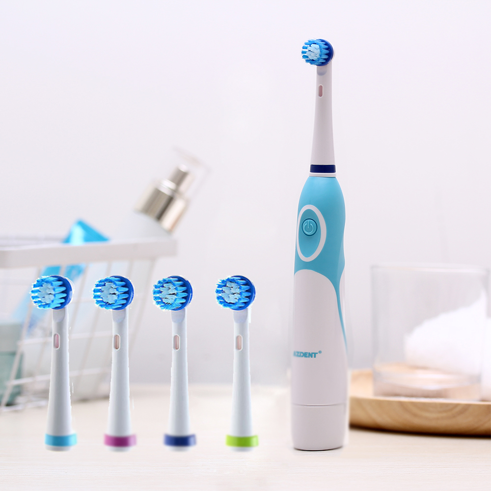 AZDENT Rotating Electric Toothbrush No Rechargeable With 4 Brush Heads Battery Toothbrush Teeth Brush Oral Hygiene Tooth Brush