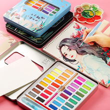 New Portable 36 Color Solid Watercolor Paint Set Children Beginners Hand Painted Water Color With Water Brush Pen Art Supplies