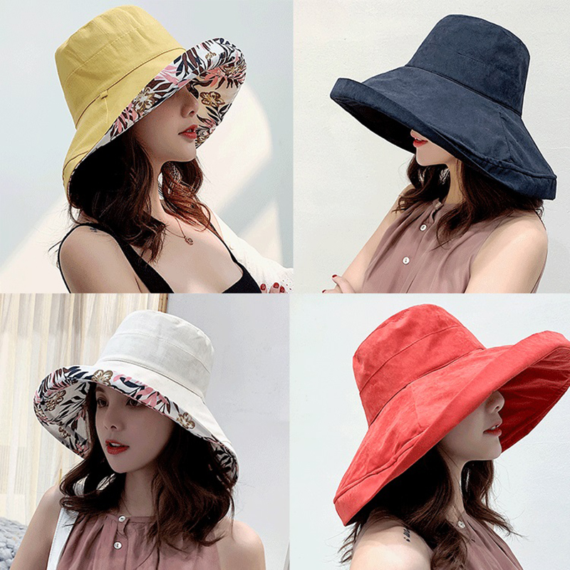 K34 Fashion Summer Big Brim Sun Hat For Female Seaside Sun Protection UV Cap Japanese Wild Fisherman Hat Korean Version 2020 NEW 1