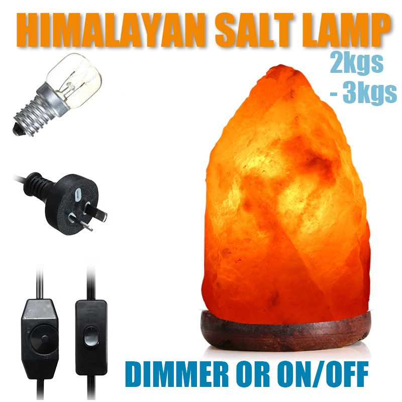 Wooden Base Himalayan Crystal Rock Salt Lamp Air Purifier Night Light Dimmer Switch Natural Hand Carved AU Plug NightLight 2-3KG